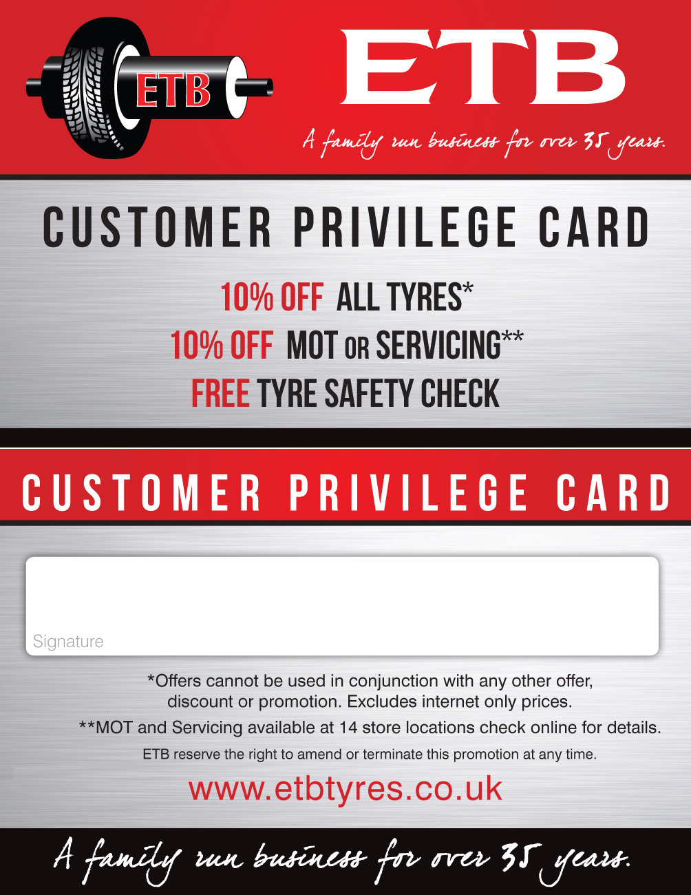 ETB Tyres Privilege Cards